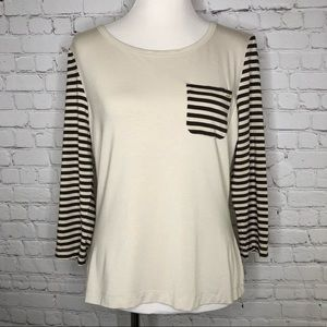 St. John Striped 3/4 Sleeve Tee Top Large